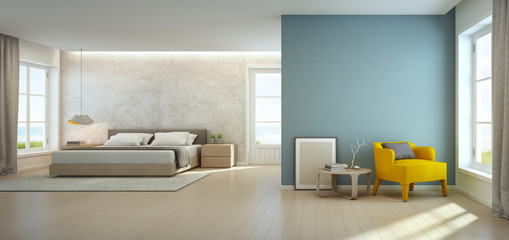Wall Mural - Sea view bedroom and living room in luxury beach house, Modern interior of vacation home - 3D rendering
