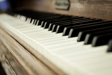 Closeup of a piano keys with a selective focus
