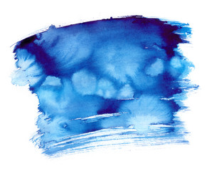 Vibrant dark blue backdrop painted in watercolor on clean white background