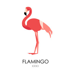 Flamingo vector icon. Logo. Flat design.
