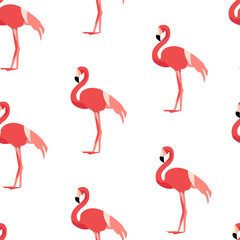 Seamless pattern with flamingo. Ornament for textile and wrapping. Vector background.