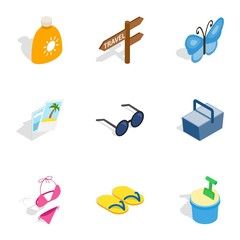 Vacation icons, isometric 3d style