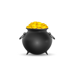 Vector illustration. Pot full of gold coins on St. Patrick's Day on a white background.