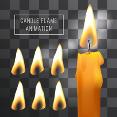 Vector wax candle flame animation on transparent background. Fire light effect.