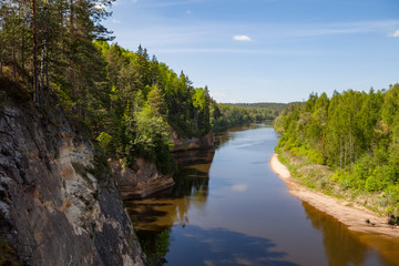 Panoramic view of river Gauja turn from path on the hill. Gauja National park, Latvia.
