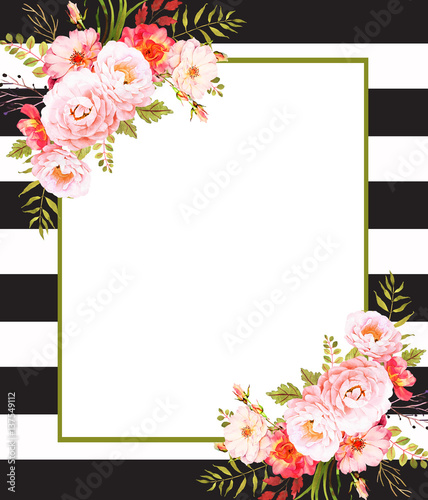 floral square background template with roses and black stripes