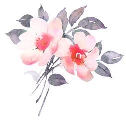 Rose bush in blossom watercolor illustratiion