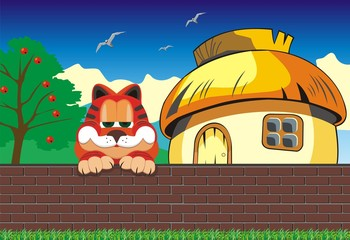 Cartoon landscape. Cat on the fence. Hut outside the fence. Vector illustration