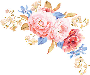 Floral bouquet of roses, blue leaves, branches on white background. Valentine's background. Watercolor illustration