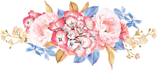 Floral bouquet made of roses, blue leaves, branches on white background. Valentine's background. Watercolor illustration