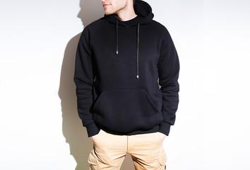 man, guy in Blank black hoodie, sweatshirt, mock up isolated.  design presentation.