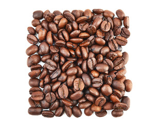 Coffee beans in square shape isolated on white background