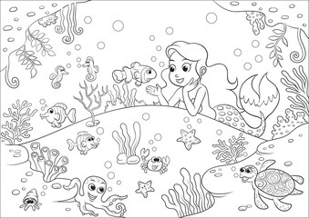 cute cartoon mermaid underwater world for Coloring Book