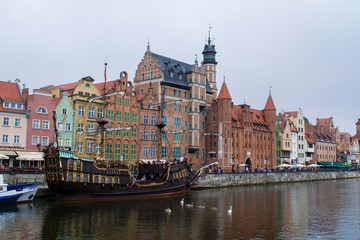 Ship on the Motlawa waterfront of Gdansk, Poland