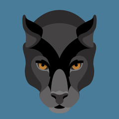 panther face vector illustration style Flat