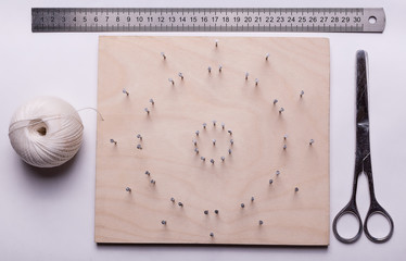 Isolated string art mandala composition