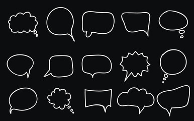 Speech bubbles doodles set on black background
