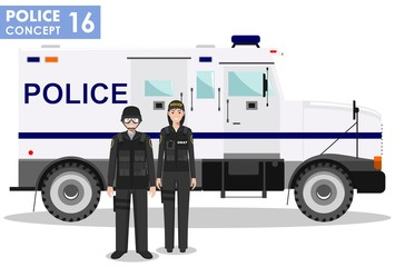 Police concept. Detailed illustration of SWAT officer, policeman, policewoman and armored car in flat style on white background. Vector illustration.