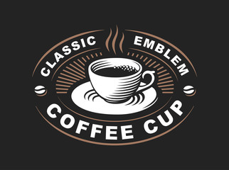 Coffee cup logo - vector illustration, emblem design on black background