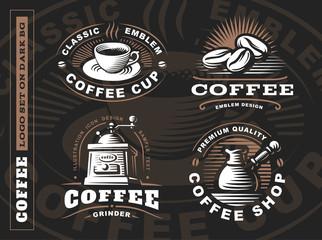 Coffee logo - vector illustration, emblem set design on black background