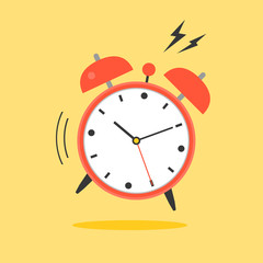 alarm clock ringing, wake up time icon, flat design