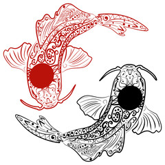 Zentangle stylized Hand drawn koi fish.