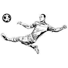 football soccer player sketch with ball isolated