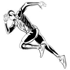 Running man Vector artwork ink drawing