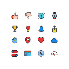 Set of General Related Vector Line Icons. Contains such Icons as Like,Unlike,Alarm Clock,Stopwatch,Compass,Location,Cloud,Heart,Speedometer,Goblet Cap. Fully Editable. Neatly Done.