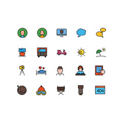 Set of General Related Vector Line Icons. Contains such Icons as Mesage,User,Camera,Calendar,Operator,Sun,Truck,Ship. Fully Editable. Neatly Done.