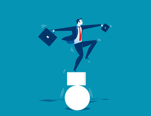 Businessman and unbalanced. Concept business illustration