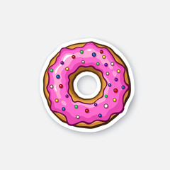 Sticker donut with pink glaze and colored powder