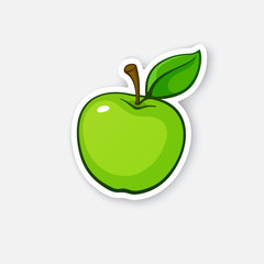 Sticker green apple with stem