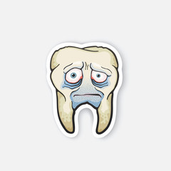 Sticker sad sick tooth