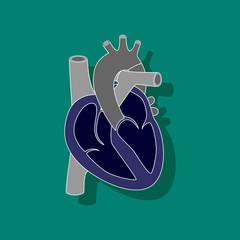 human heart paper sticker on stylish background
