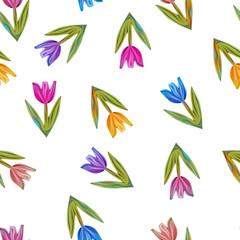 Stylized tulips seamless pattern. Raster Background.