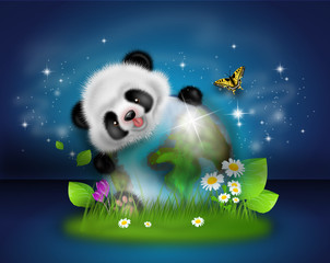 Panda with earth decoration