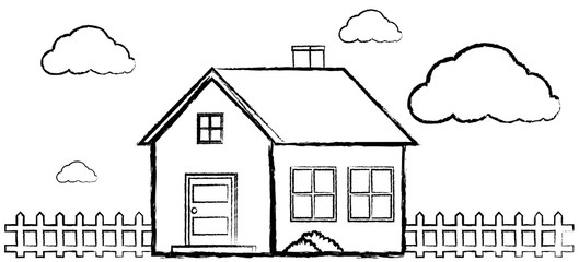 Doodle of single house without color