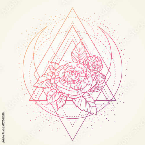 ce6605017464d rose flower with sacred geometry frame. Tattoo, mystic symbol. Boho print,  poster. textiles. dreamy gradient ink on light background. Hand-drawn,  retro card ...