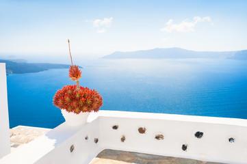 Santorini island, Greece. Selective focus. Summer landscape, sea view