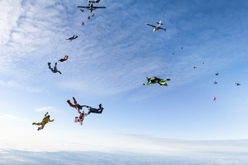 Skydivers have just jumped out of a plane