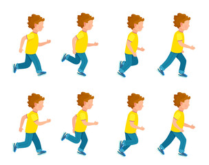 Running Boy Animation Sprite Set. 8 Frame Loop.