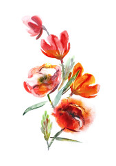 Red Flowers Bouquet. Watercolor Illustration.