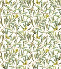 Olive tree leaves seamless pattern