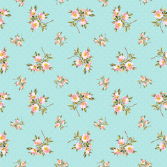 Rose bush polka dots watercolor seamless pattern