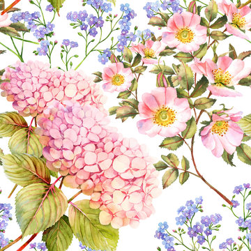 Hydrangea, forget me not and roses flower seamless pattern