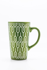 one shabby green cup isolated on a white background