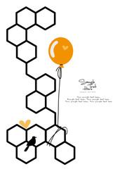 Honeycomb honey icon stock vector illustration flat design / Orange balloon fixed on beehive