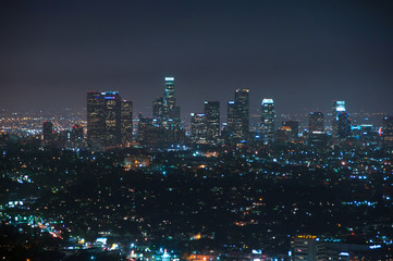 Wall Mural - Night view of downtown Los Angeles, California United States