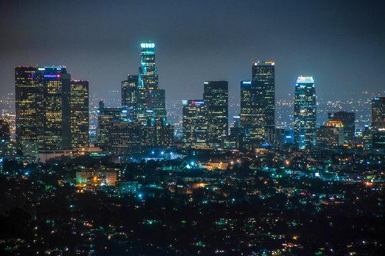 Downtown Los Angeles at night, California, USA